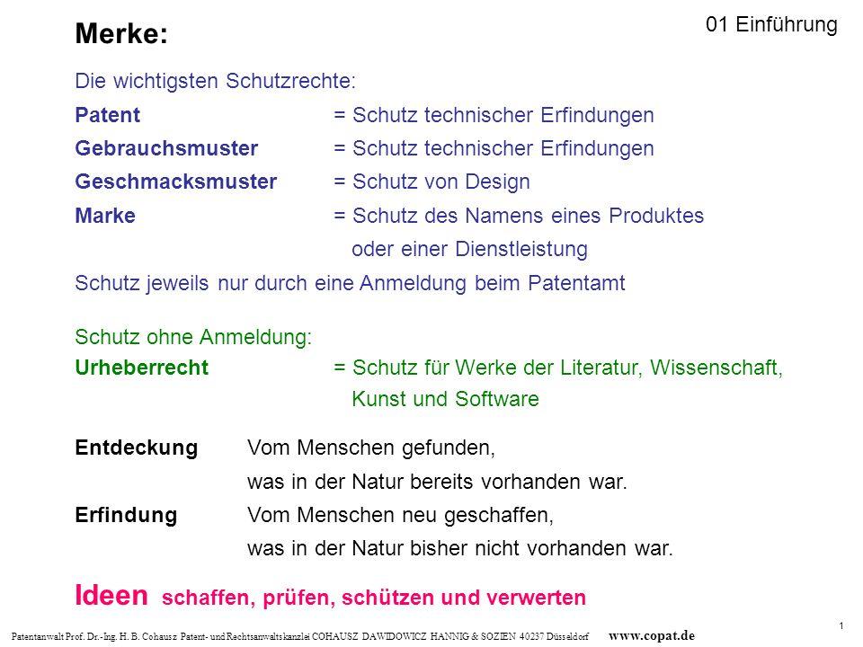 Patentanwalt Prof. Dr.-Ing. H. B. Cohausz Patent- und Rechtsanwaltskanzlei COHAUSZ DAWIDOWICZ HANNIG & SOZIEN 40237 Düsseldorf www.copat.de Ideen scha