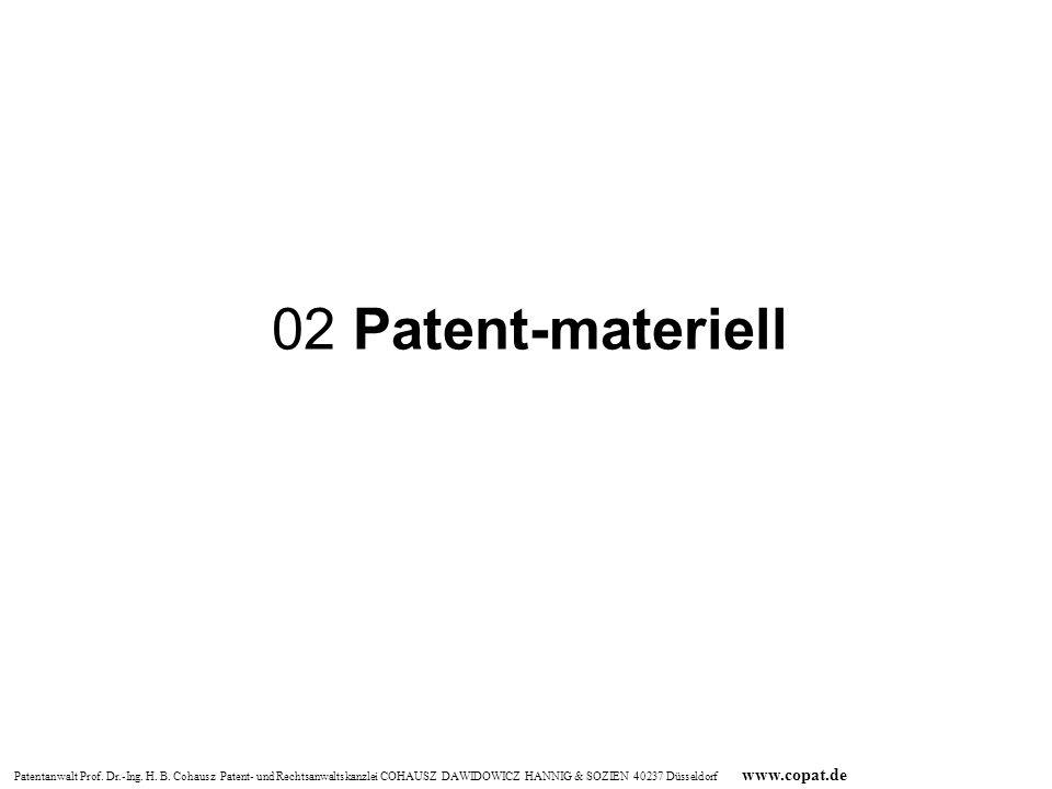 Patentanwalt Prof. Dr.-Ing. H. B. Cohausz Patent- und Rechtsanwaltskanzlei COHAUSZ DAWIDOWICZ HANNIG & SOZIEN 40237 Düsseldorf www.copat.de 02 Patent-