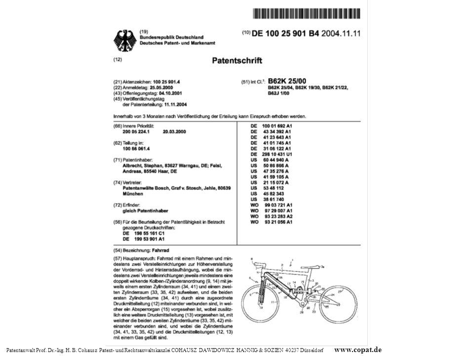 Patentanwalt Prof. Dr.-Ing. H. B. Cohausz Patent- und Rechtsanwaltskanzlei COHAUSZ DAWIDOWICZ HANNIG & SOZIEN 40237 Düsseldorf www.copat.de