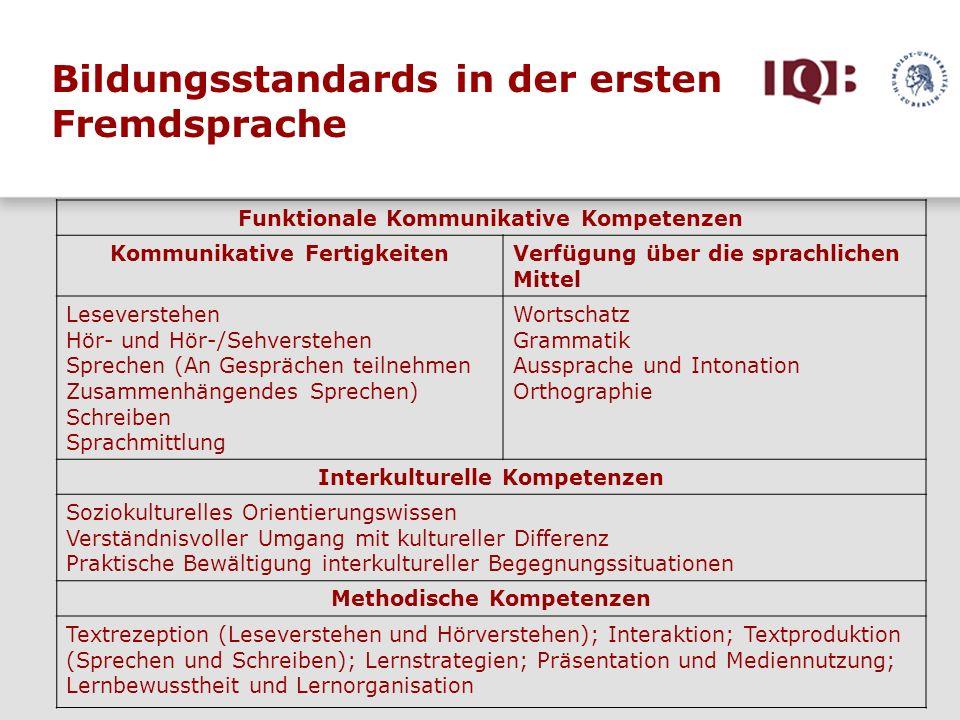 Bildungsstandards in der ersten Fremdsprache Funktionale Kommunikative Kompetenzen Kommunikative FertigkeitenVerfügung über die sprachlichen Mittel Le