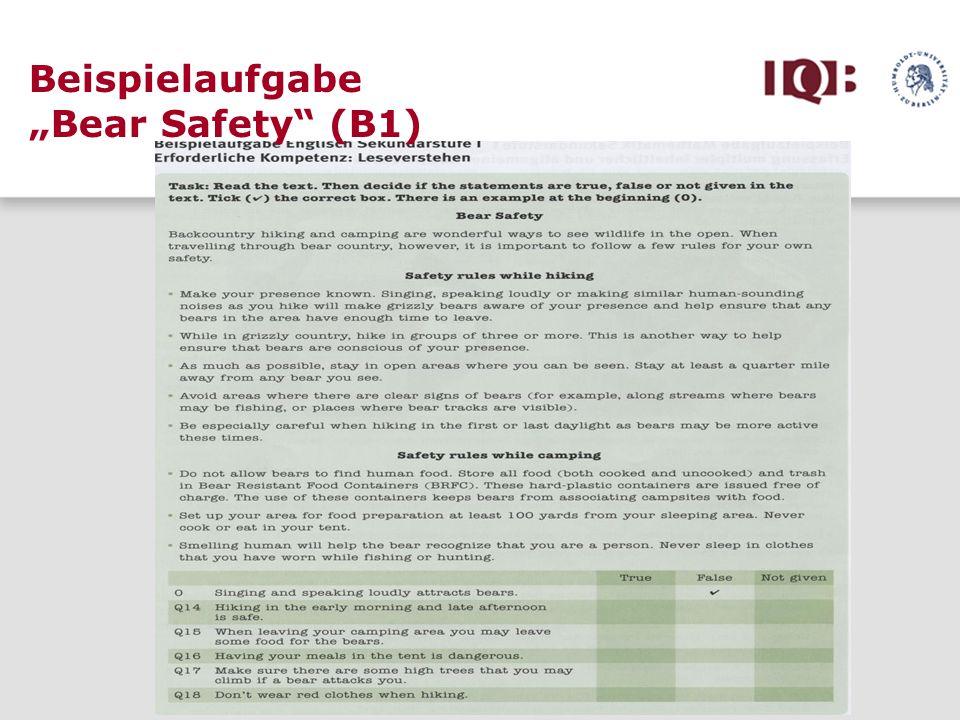 Beispielaufgabe Bear Safety (B1)