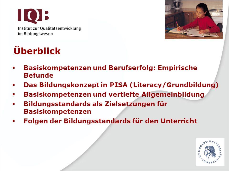Überblick Basiskompetenzen und Berufserfolg: Empirische Befunde Das Bildungskonzept in PISA (Literacy/Grundbildung) Basiskompetenzen und vertiefte All
