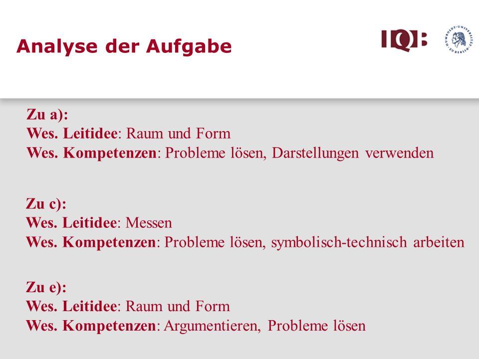 Zu a): Wes. Leitidee: Raum und Form Wes. Kompetenzen: Probleme lösen, Darstellungen verwenden Zu c): Wes. Leitidee: Messen Wes. Kompetenzen: Probleme