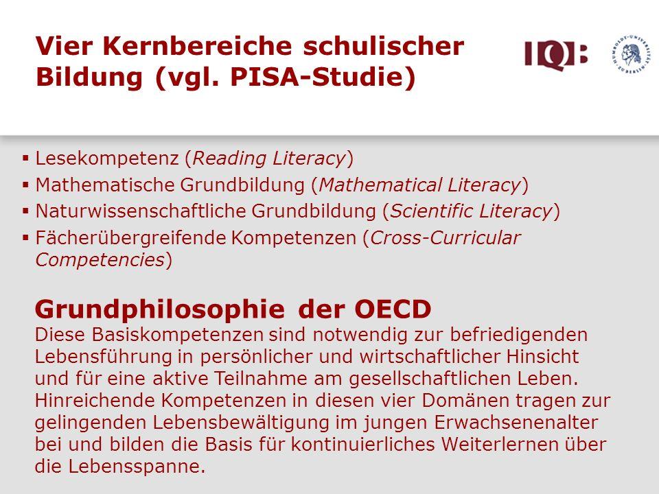 Vier Kernbereiche schulischer Bildung (vgl. PISA-Studie) Lesekompetenz (Reading Literacy) Mathematische Grundbildung (Mathematical Literacy) Naturwiss