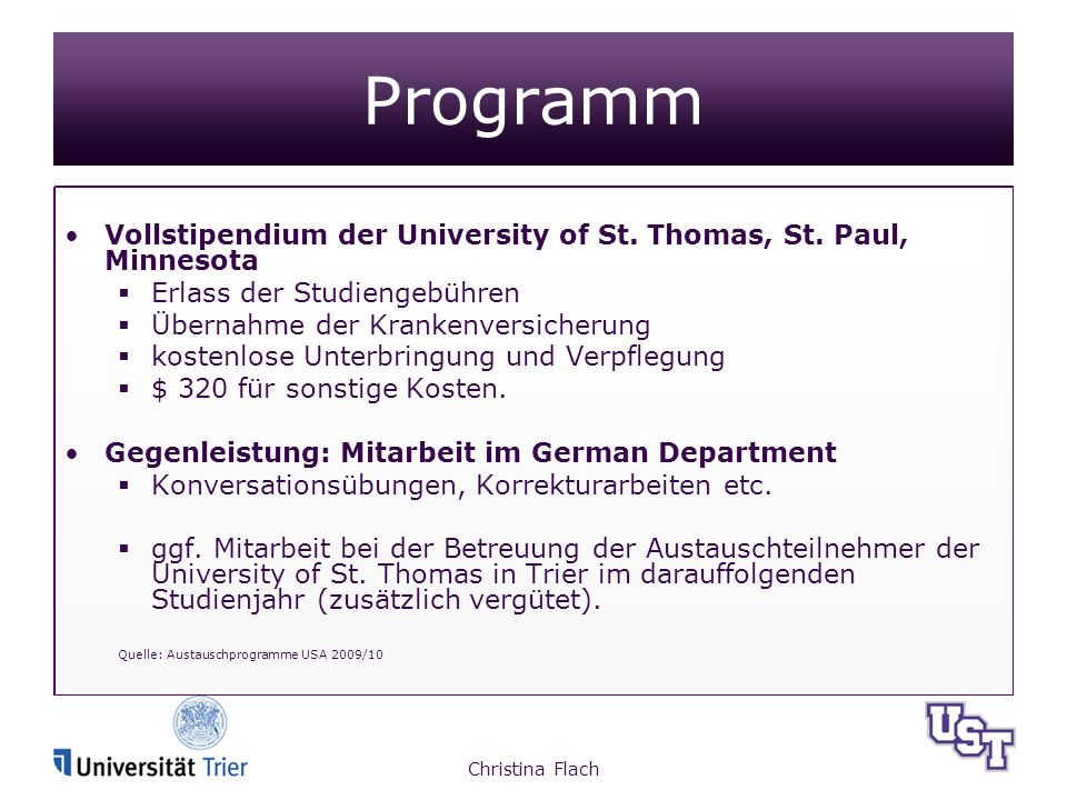 Programm Vollstipendium der University of St. Thomas, St.