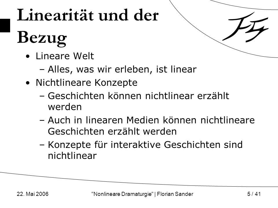 22.Mai 2006 Nonlineare Dramaturgie | Florian Sander6 / 41 So linear ist das alles garnicht...
