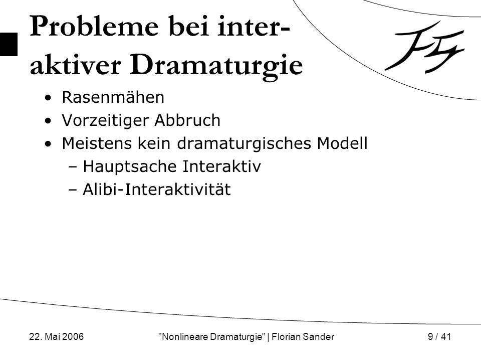22. Mai 2006 Nonlineare Dramaturgie | Florian Sander10 / 41 Alibi-Interaktivität Interaktion