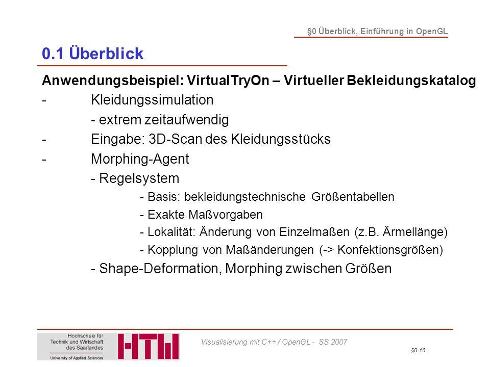 §0-18 §0 Überblick, Einführung in OpenGL Visualisierung mit C++ / OpenGL - SS 2007 0.1 Überblick Anwendungsbeispiel: VirtualTryOn – Virtueller Bekleid
