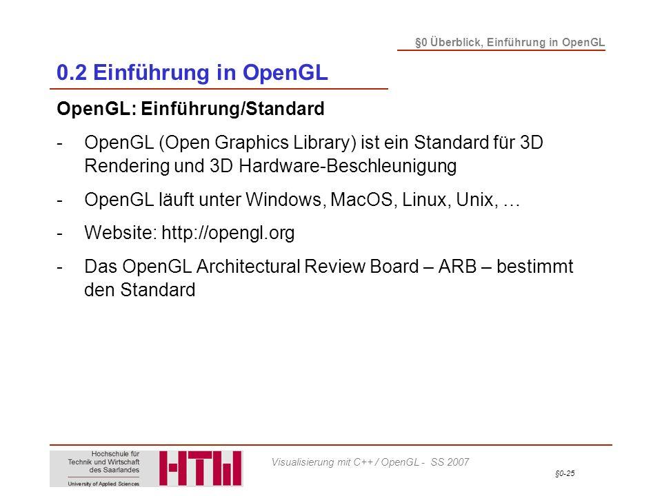 §0-25 §0 Überblick, Einführung in OpenGL Visualisierung mit C++ / OpenGL - SS 2007 0.2 Einführung in OpenGL OpenGL: Einführung/Standard -OpenGL (Open Graphics Library) ist ein Standard für 3D Rendering und 3D Hardware-Beschleunigung -OpenGL läuft unter Windows, MacOS, Linux, Unix, … -Website: http://opengl.org -Das OpenGL Architectural Review Board – ARB – bestimmt den Standard