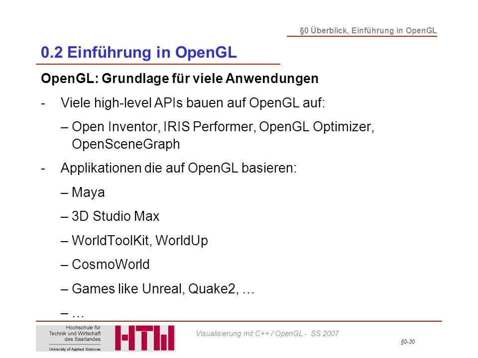 §0-30 §0 Überblick, Einführung in OpenGL Visualisierung mit C++ / OpenGL - SS 2007 0.2 Einführung in OpenGL OpenGL: Grundlage für viele Anwendungen -Viele high-level APIs bauen auf OpenGL auf: – Open Inventor, IRIS Performer, OpenGL Optimizer, OpenSceneGraph -Applikationen die auf OpenGL basieren: – Maya – 3D Studio Max – WorldToolKit, WorldUp – CosmoWorld – Games like Unreal, Quake2, … – …