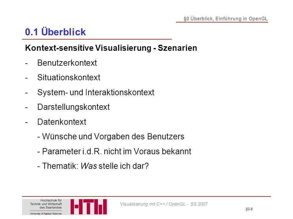 §0-20 §0 Überblick, Einführung in OpenGL Visualisierung mit C++ / OpenGL - SS 2007 0.1 Überblick Anwendungsbeispiel: VirtualTryOn – Virtueller Bekleidungskatalog -Virtuelle Anprobe - Positionierung - Vorpositionierung: Featurepunkte aus Scanprozess - Haltungskorrektur zur genauen Positionierung
