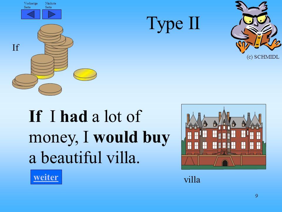 Nächste Seite Vorherige Seite (c) SCHMIDL 9 If I had a lot of money, I would buy a beautiful villa.
