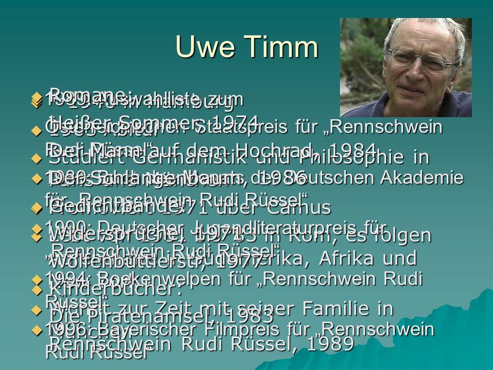* 1940 in Hamburg * 1940 in Hamburg 1963 Abitur 1963 Abitur Studiert Germanistik und Philosophie in Paris und München Studiert Germanistik und Philoso