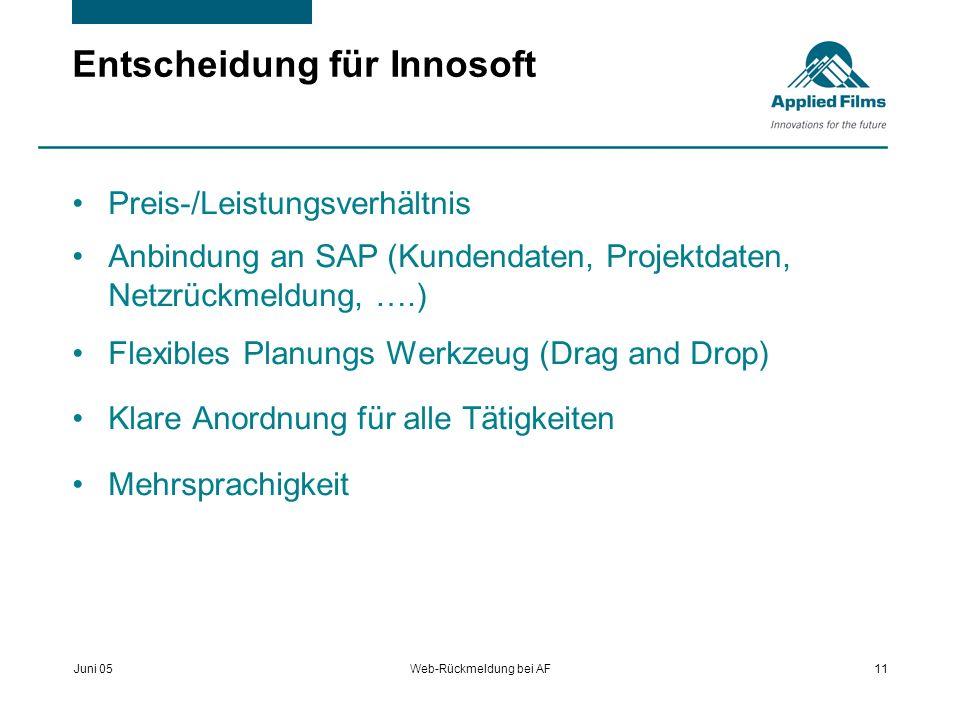Juni 05Web-Rückmeldung bei AF11 Entscheidung für Innosoft Preis-/Leistungsverhältnis Anbindung an SAP (Kundendaten, Projektdaten, Netzrückmeldung, ….)