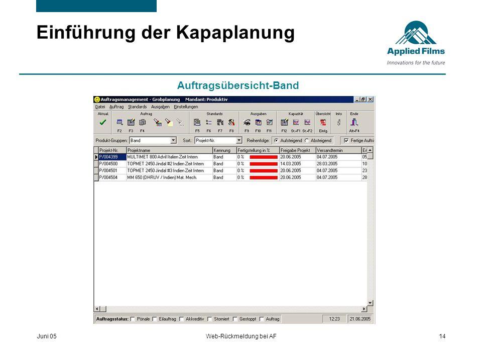 Juni 05Web-Rückmeldung bei AF14 Einführung der Kapaplanung Auftragsübersicht-Band