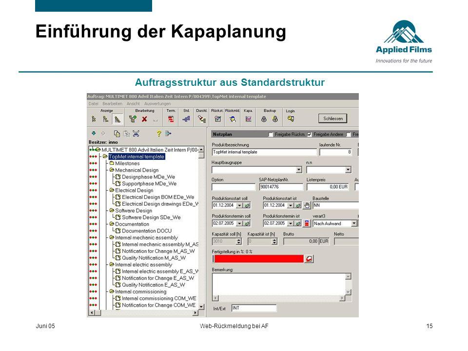 Juni 05Web-Rückmeldung bei AF15 Einführung der Kapaplanung Auftragsstruktur aus Standardstruktur