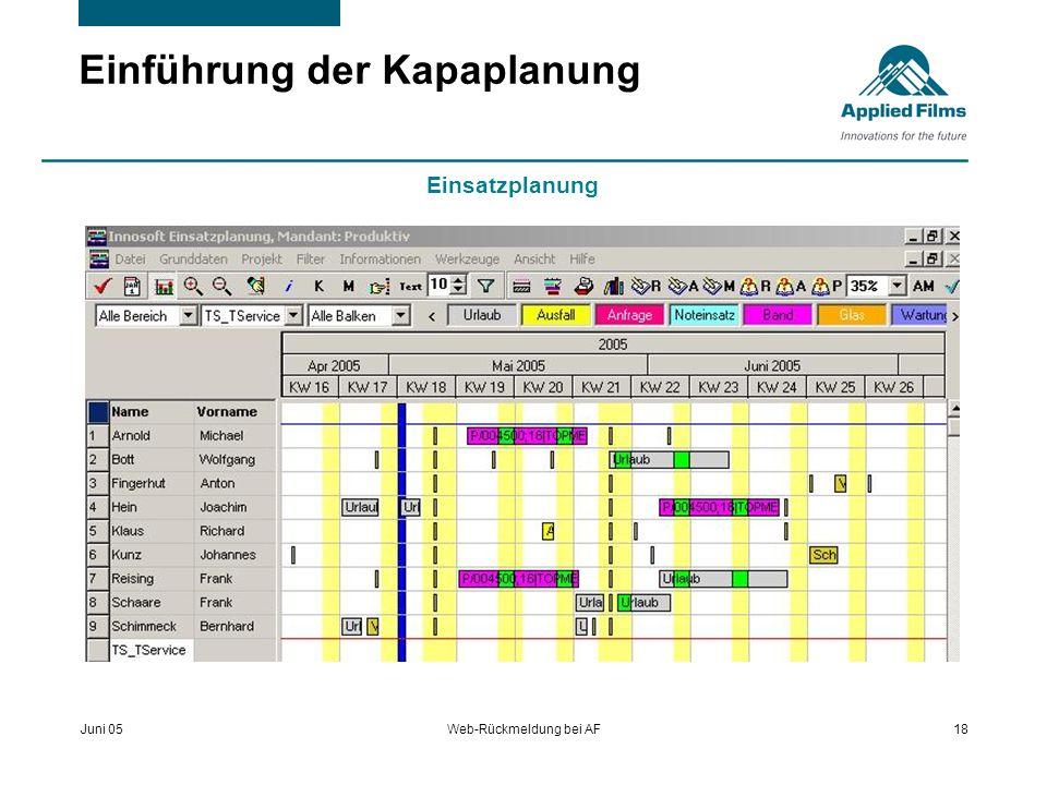 Juni 05Web-Rückmeldung bei AF18 Einführung der Kapaplanung Einsatzplanung