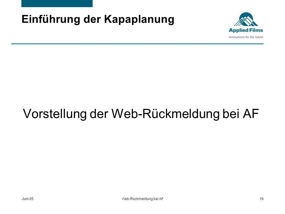 Juni 05Web-Rückmeldung bei AF19 Einführung der Kapaplanung Vorstellung der Web-Rückmeldung bei AF