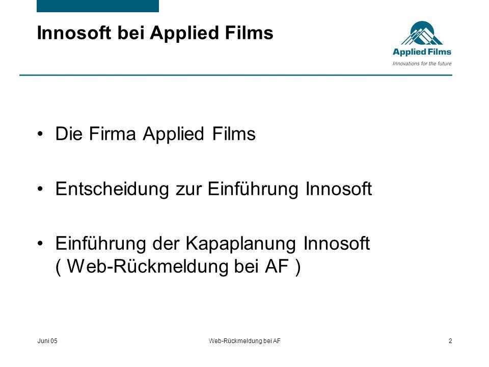 Juni 05Web-Rückmeldung bei AF13 Einführung der Kapaplanung Gesamtablauf 1.Auftragskopfdaten von 2.Auftragsstrukturen in INNOSOFT ergänzen 3.INNOSOFT-Auftragsstrukturen mit SAP-Vorgangsnummern ergänzen.