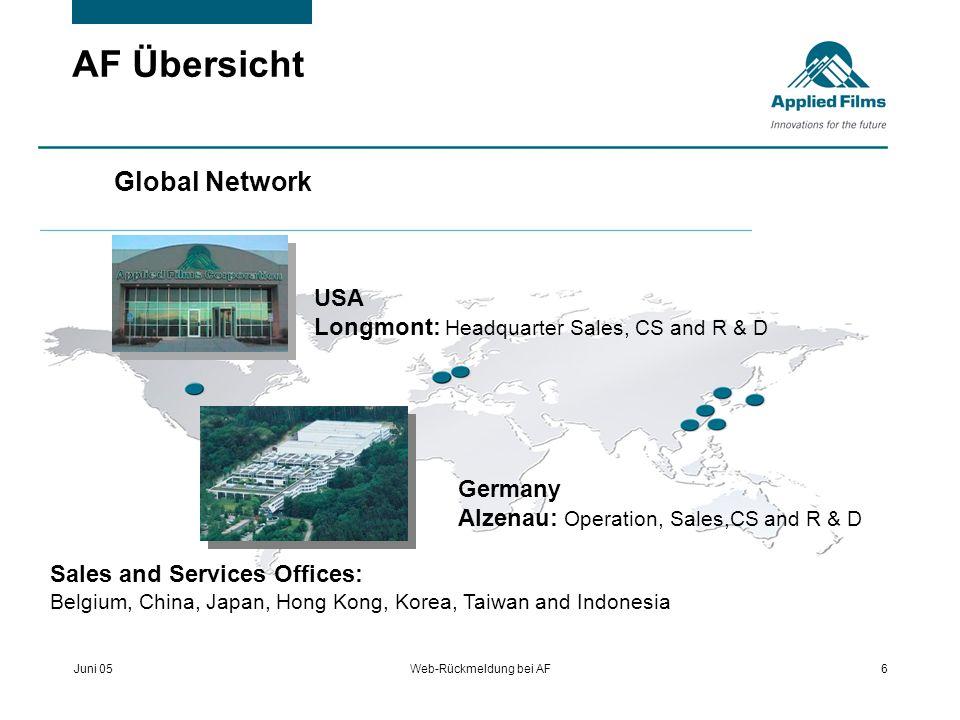 Juni 05Web-Rückmeldung bei AF6 AF Übersicht Global Network USA Longmont: Headquarter Sales, CS and R & D Germany Alzenau: Operation, Sales,CS and R &