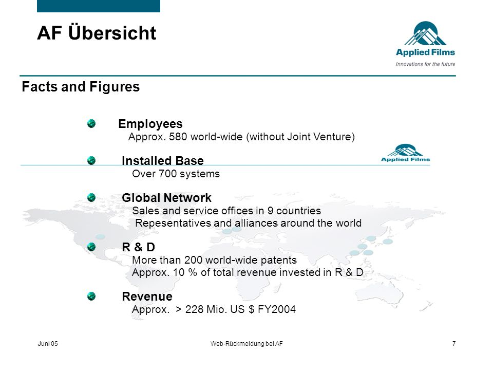 Juni 05Web-Rückmeldung bei AF7 AF Übersicht Facts and Figures Employees Approx. 580 world-wide (without Joint Venture) Installed Base Over 700 systems