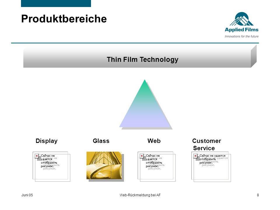 Juni 05Web-Rückmeldung bei AF8 Produktbereiche Thin Film Technology Display Glass Web Customer Service