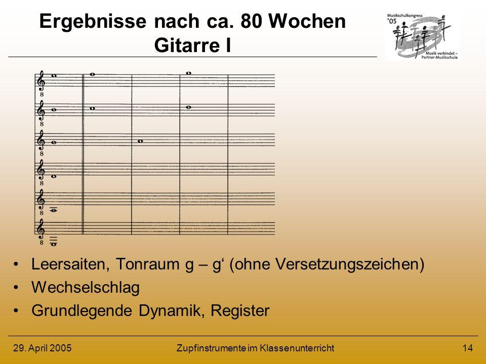 29. April 2005Zupfinstrumente im Klassenunterricht14 Ergebnisse nach ca. 80 Wochen Gitarre I Leersaiten, Tonraum g – g (ohne Versetzungszeichen) Wechs