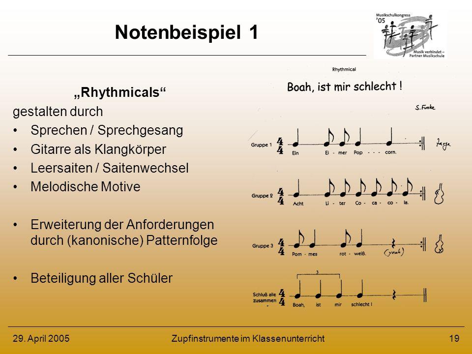 29. April 2005Zupfinstrumente im Klassenunterricht19 Notenbeispiel 1 Rhythmicals gestalten durch Sprechen / Sprechgesang Gitarre als Klangkörper Leers
