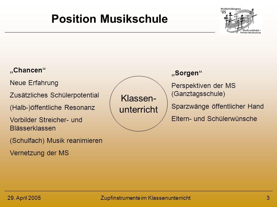 29. April 2005Zupfinstrumente im Klassenunterricht3 Position Musikschule Klassen- unterricht Chancen Neue Erfahrung Zusätzliches Schülerpotential (Hal