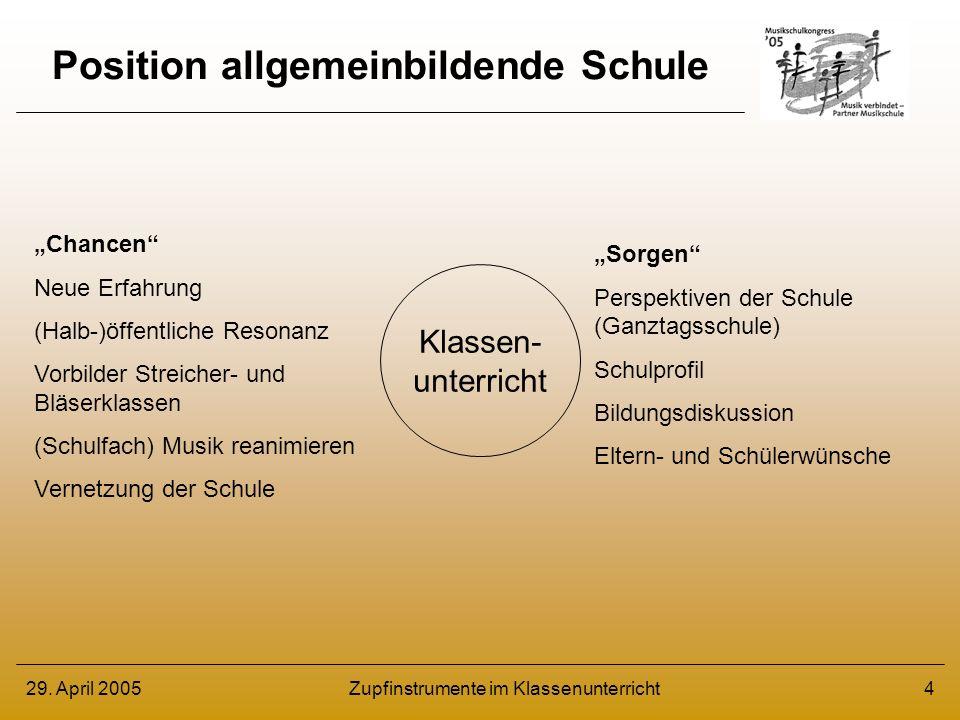 29.April 2005Zupfinstrumente im Klassenunterricht5 Musik in der allgemeinb.