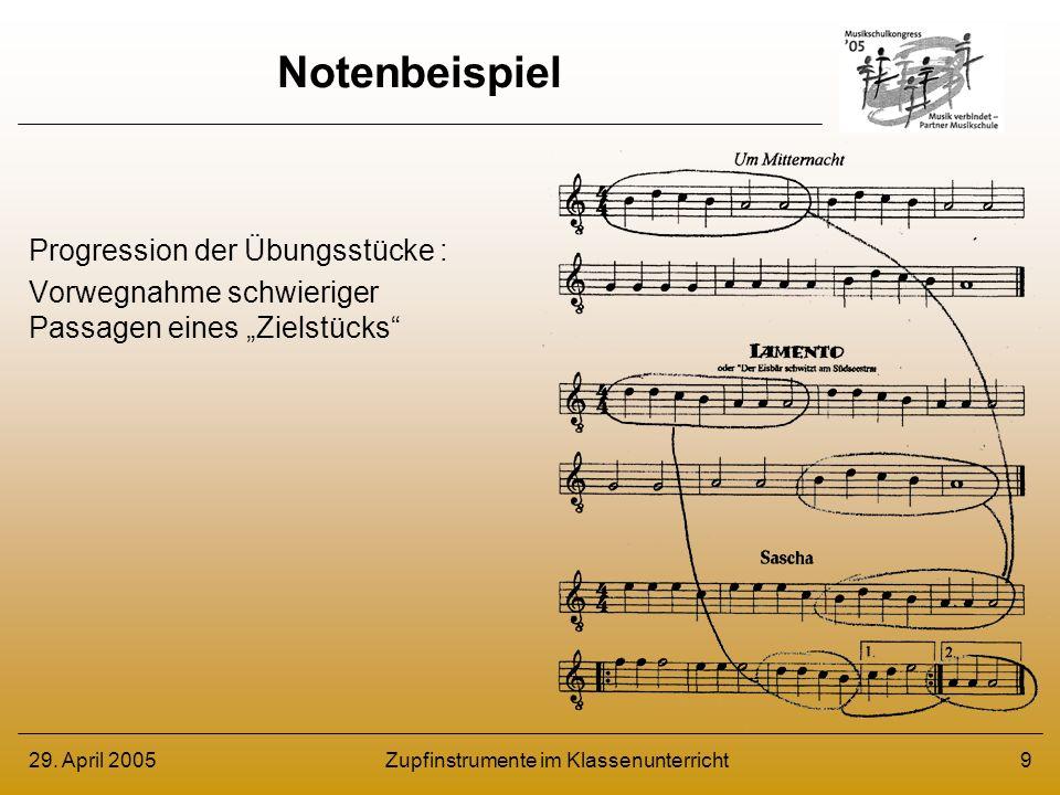 29.April 2005Zupfinstrumente im Klassenunterricht10 Notenbeispiel – ca.