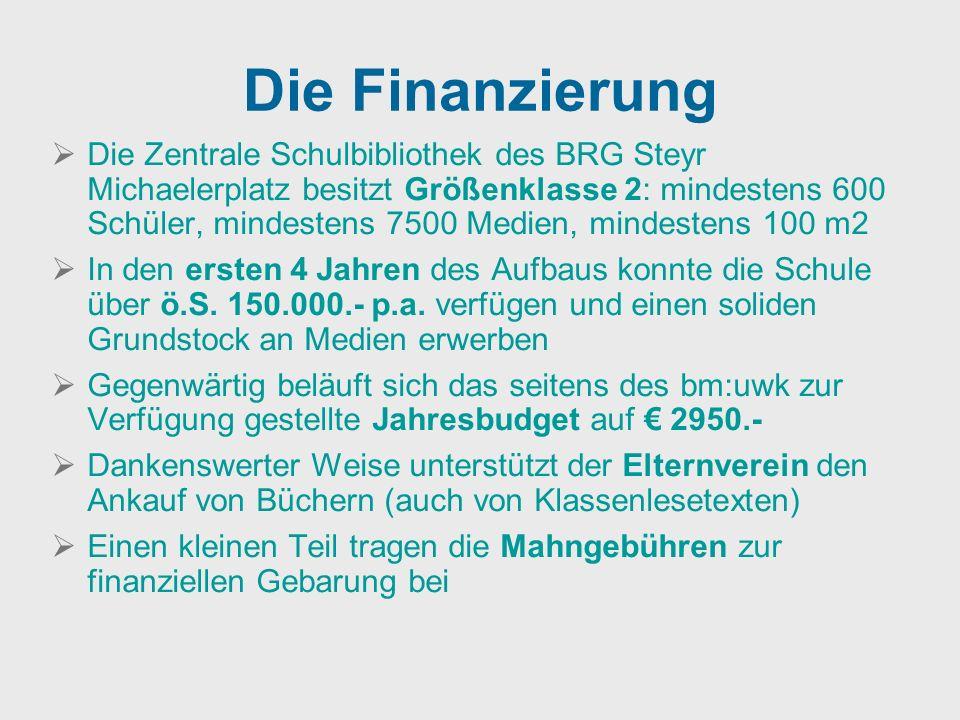 Die Finanzierung Die Zentrale Schulbibliothek des BRG Steyr Michaelerplatz besitzt Größenklasse 2: mindestens 600 Schüler, mindestens 7500 Medien, min
