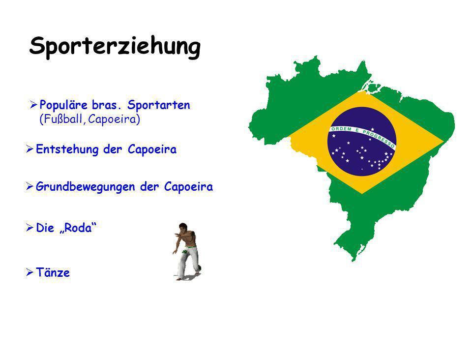 Sporterziehung Die Roda Populäre bras. Sportarten (Fußball, Capoeira) Grundbewegungen der Capoeira Entstehung der Capoeira Tänze