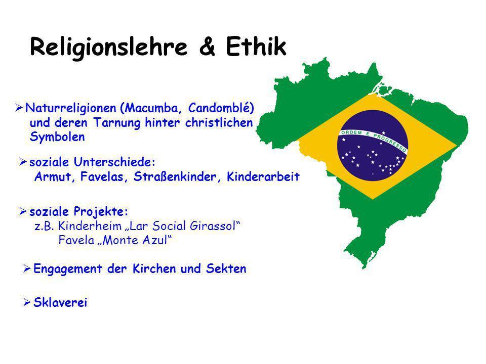 Religionslehre & Ethik Engagement der Kirchen und Sekten Naturreligionen (Macumba, Candomblé) und deren Tarnung hinter christlichen Symbolen soziale P