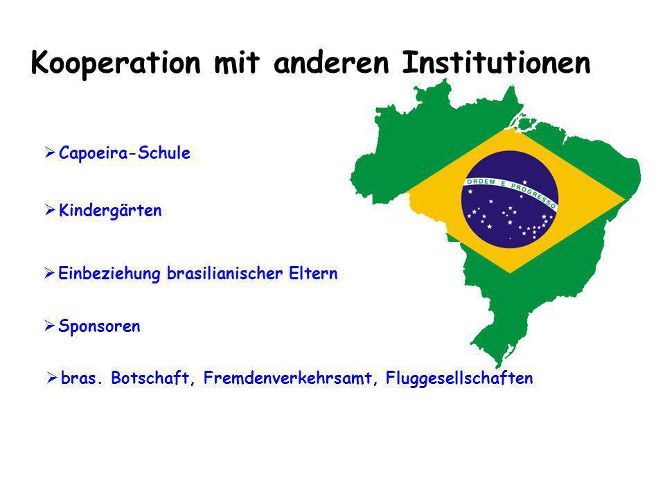 Kooperation mit anderen Institutionen bras. Botschaft, Fremdenverkehrsamt, Fluggesellschaften Capoeira-Schule Einbeziehung brasilianischer Eltern Kind