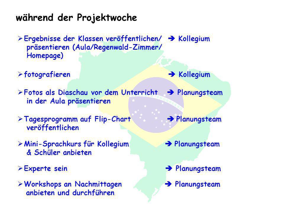 während der Projektwoche Ergebnisse der Klassen veröffentlichen/ Kollegium präsentieren (Aula/Regenwald-Zimmer/ Homepage) Fotos als Diaschau vor dem U