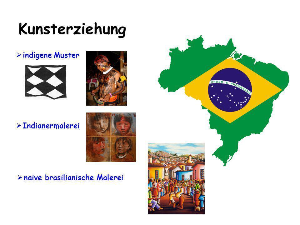 Werken/Textiles Gestalten Bauen von einfachen Instrumenten (Berimbaú, Agogô, Caxixi (Holzrassel), Pandeiro (Schellentamburin) Indianerschmuck Alltagsgegenstände der indigenen Bevölkerung
