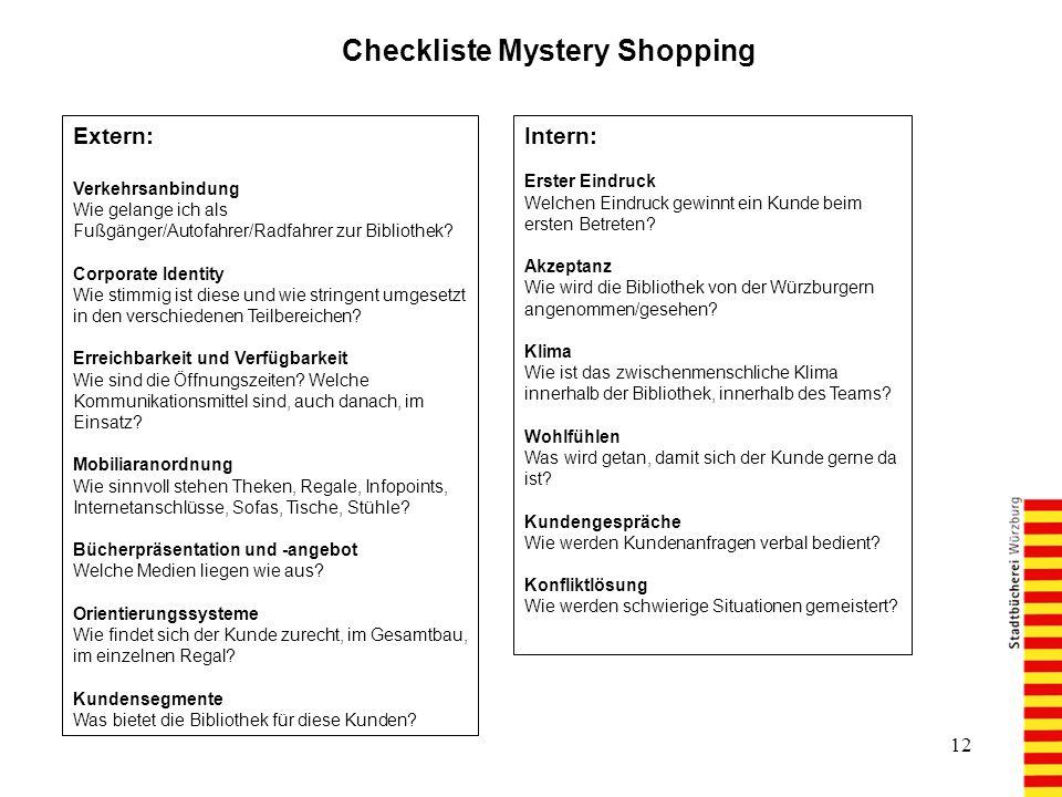 12 Checkliste Mystery Shopping Extern: Verkehrsanbindung Wie gelange ich als Fußgänger/Autofahrer/Radfahrer zur Bibliothek.