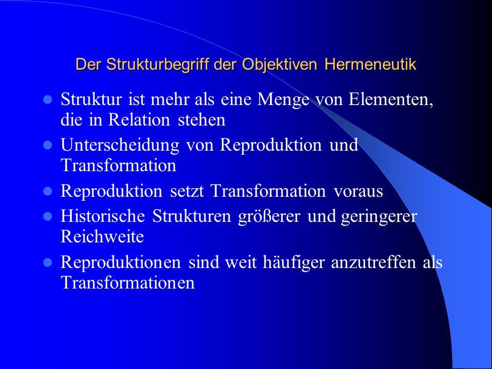 Der Textbegriff der Objektiven Hermeneutik Text ist nicht an Sprache gebunden Texte sind Protokolle, die von bewußten Individuen unter Verwendung von Konstruktionsregeln verfaßt werden Auch z.B.
