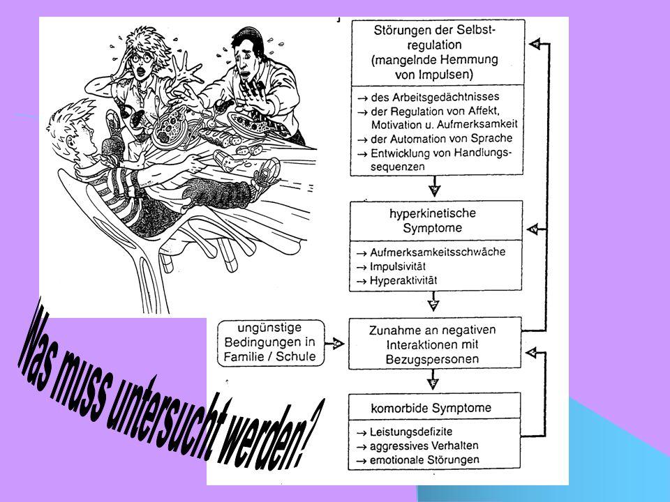 Begleitstörungen Oppositionelles und aggressives Verhalten Wahrnehmungsstörungen Entwicklungsrückstände und Lernstörungen (Legasthenie und Dyskalkulie