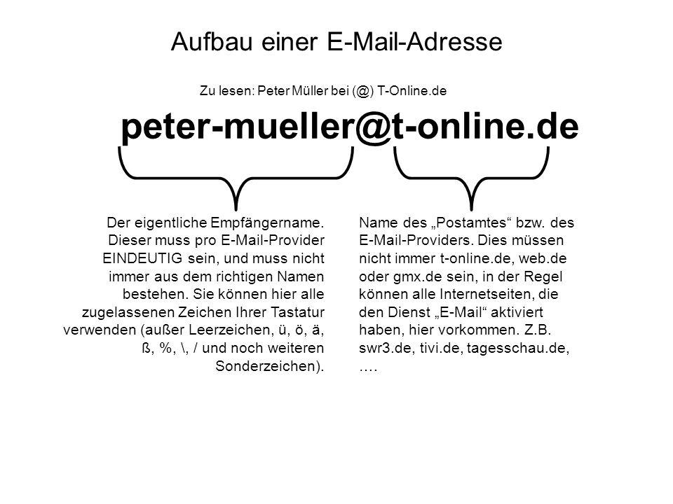 Aufbau einer E-Mail-Adresse peter-mueller@t-online.de Zu lesen: Peter Müller bei (@) T-Online.de Name des Postamtes bzw. des E-Mail-Providers. Dies mü