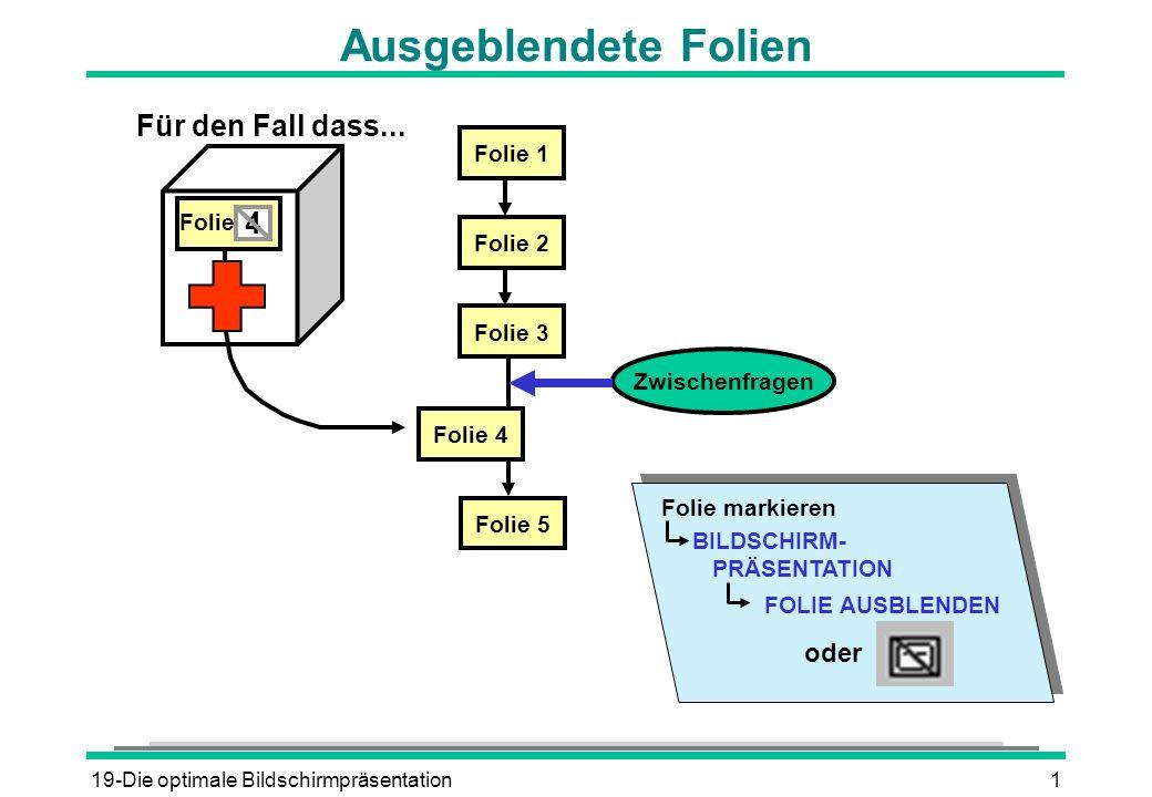 19-Die optimale Bildschirmpräsentation1 Ausgeblendete Folien Zwischenfragen Folie 1 Folie 2 Folie 3 Folie 5 Folie 4 4 Folie Für den Fall dass... BILDS