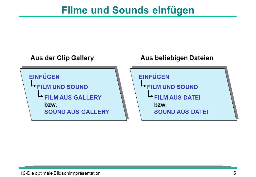 19-Die optimale Bildschirmpräsentation5 Filme und Sounds einfügen EINFÜGEN FILM UND SOUND FILM AUS GALLERY bzw. SOUND AUS GALLERY Aus der Clip Gallery
