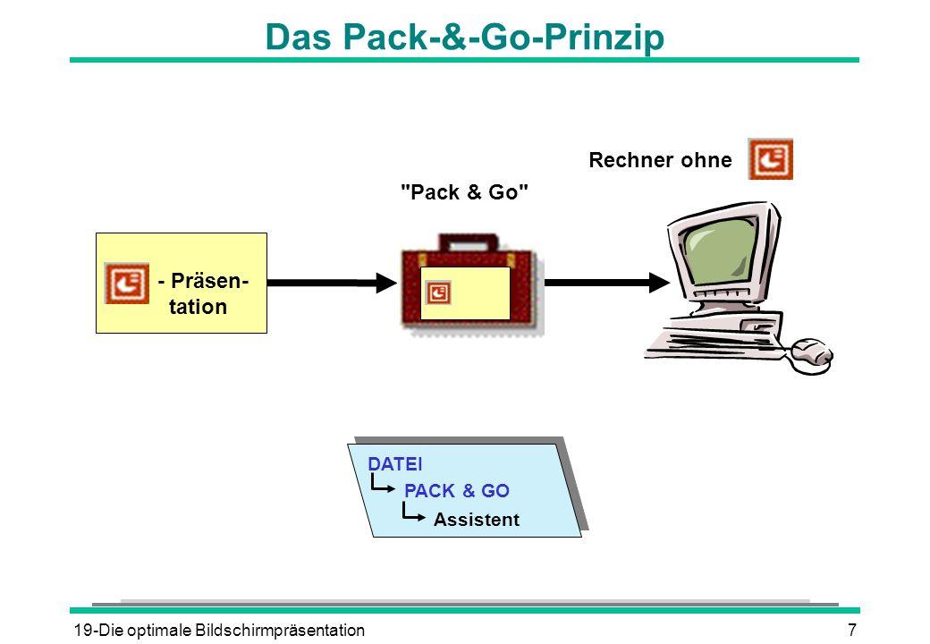 19-Die optimale Bildschirmpräsentation8 Die Schritte des Pack-&-Go-Assistenten 1.
