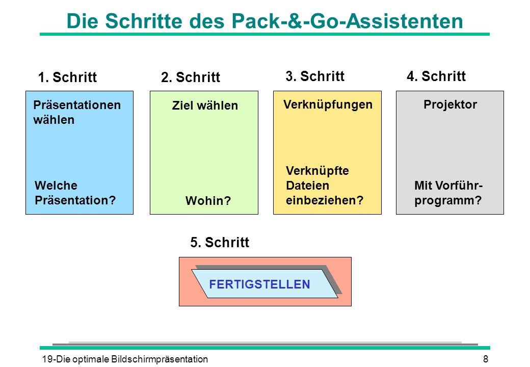 19-Die optimale Bildschirmpräsentation8 Die Schritte des Pack-&-Go-Assistenten 1. Schritt 2. Schritt 3. Schritt Präsentationen wählen Ziel wählen Verk