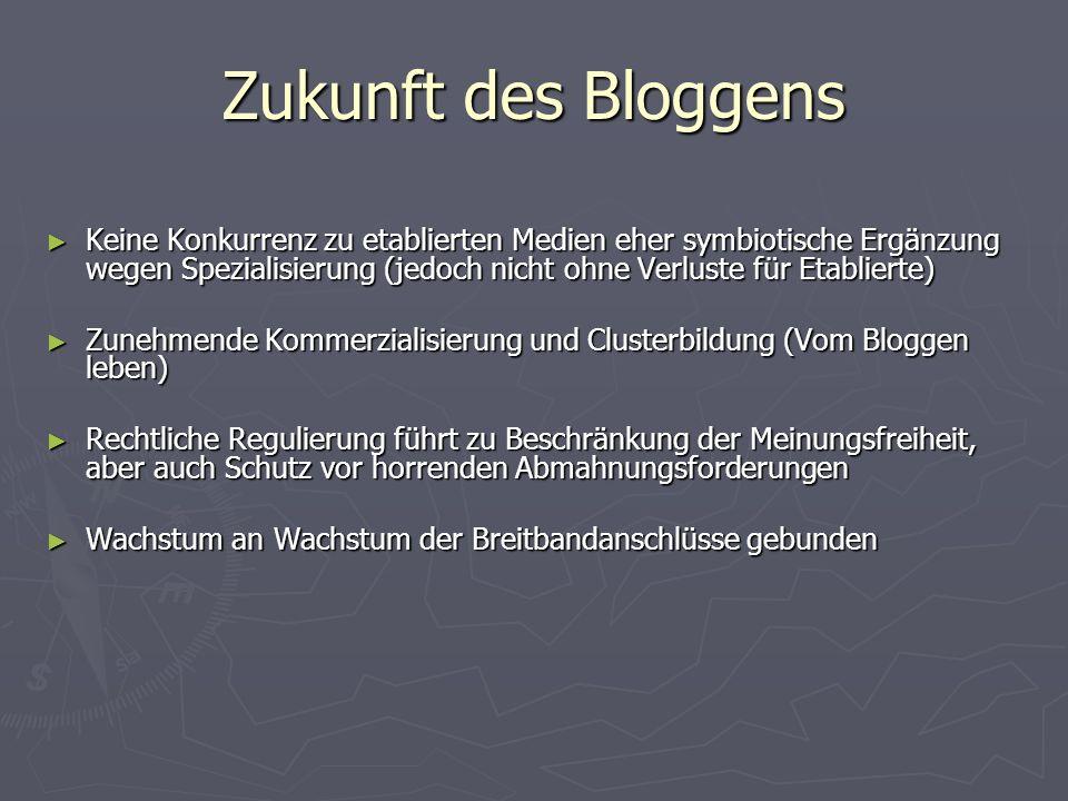 Zukunft des Bloggens Keine Konkurrenz zu etablierten Medien eher symbiotische Ergänzung wegen Spezialisierung (jedoch nicht ohne Verluste für Etablier