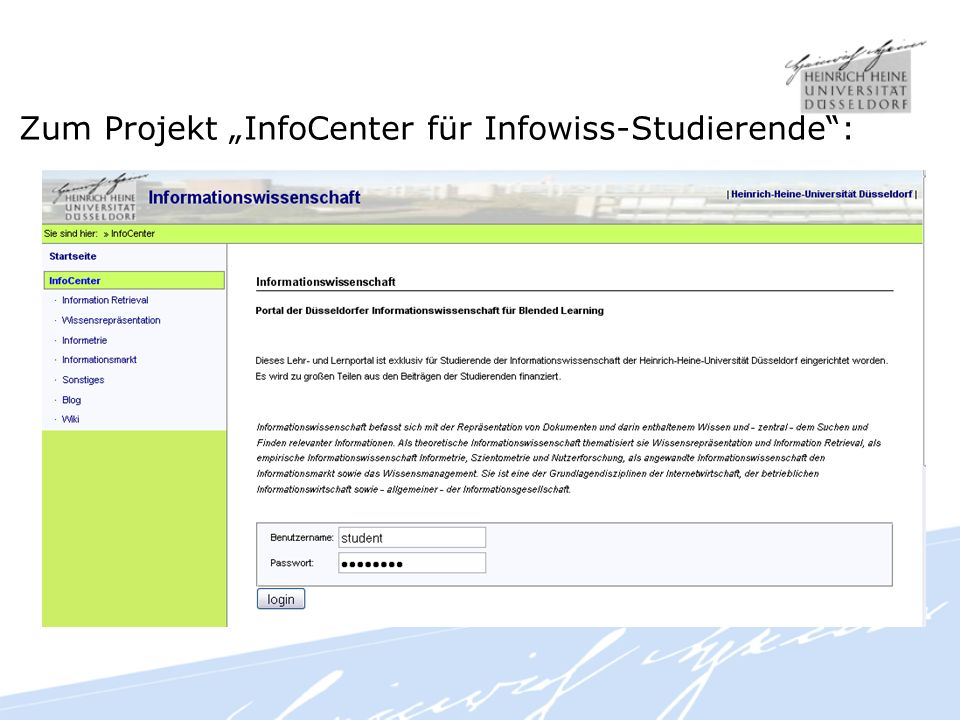 Zum Projekt InfoCenter für Infowiss-Studierende: