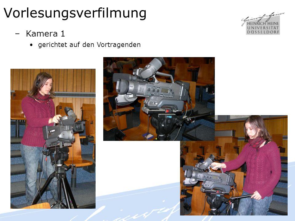 Vorlesungsverfilmung –Kamera 1 gerichtet auf den Vortragenden