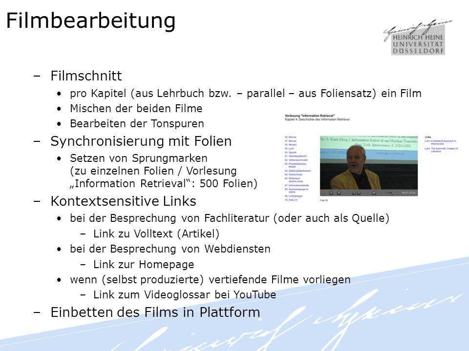 Filmbearbeitung –Filmschnitt pro Kapitel (aus Lehrbuch bzw.