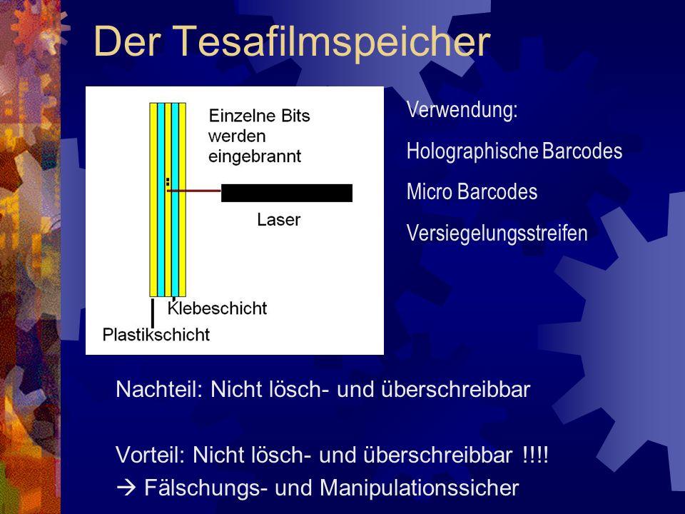 Der Tesafilmspeicher Nachteil: Nicht lösch- und überschreibbar Vorteil: Nicht lösch- und überschreibbar !!!! Fälschungs- und Manipulationssicher Verwe